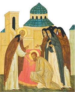 Преподобный Ферапонт принимает иноческий постриг в московском Симонове монастыре